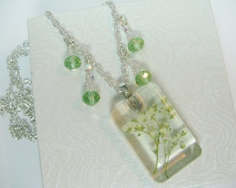 Real Flower Pendant Necklace, Real Flower Jewellery, Jewellery Gift For Her,  Floral Jewellery