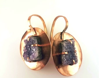 Amethyst Copper Shield Earrings | Ear Weights | Ear Hangers | Statement Earrings | Gauges