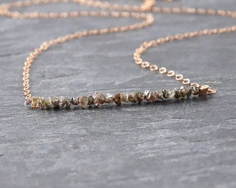 Raw Chocolate Diamond Rose Gold Necklace • Mothers Day Gift Mom Gifts from Daughter • April Birthstone Necklace • Dainty • Best Friend Gift