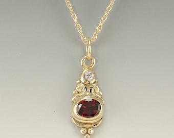 Gold Garnet Pendant/ Gold Garnet Necklace/ Garnet Pendant/ January Birthstone/ One of a Kind/ Handmade Garnet Pendant/ Gift for Her