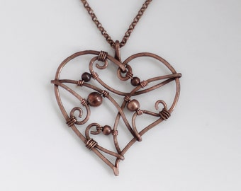 Heart necklace all in copper, Heart pendant, Copper necklace