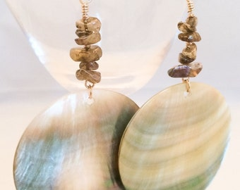 Long Shell Earrings - Labradorite Earrings - Shell Dangle Earrings - Gray Shell Earrings - Labradorite Earrings - Silver Shell Earrings