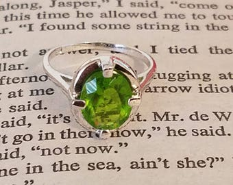 Bright Sterling Silver ring with large Peridot