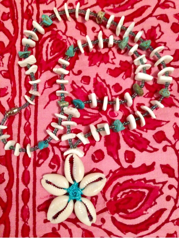 Vintage Beachy Surfer Sea Shells & blue southwestern Stones summer vacation Necklace on light blue Cord