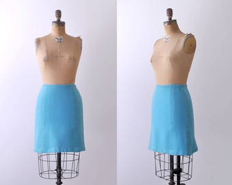70's light blue skirt. pencil. 1970 wool mini skirt. xs. turquoise.