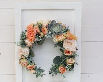 Large peach pink ivory flower crown Succulents floral halo Bridal flowers Wedding hair wreath Headband  Bridesmaid Maternity photoprops