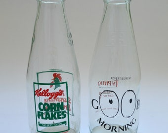 Two Vintage 1980's Milk Bottles Advertising  Kellog's Corn Flakes and Typhoo Tea