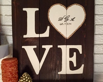 LOVE Wooden Sign with Custom Date and Monogram Initials