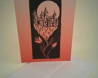 Surreal Blank Greeting Cards, Ombre Block Print Cards 3-Pack, A2, Assorted Colors, Handmade, Unique, Castle, Medieval, Moon, Art, Flower
