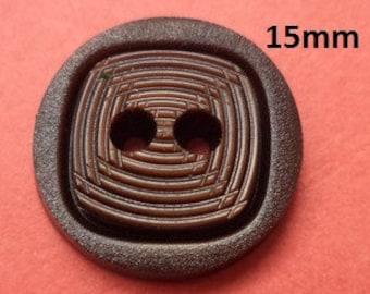 12 buttons 15 mm dark brown (6123) button