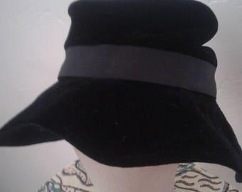 Ken Blair Vtg 60s Black  Velvet Hat Union Made
