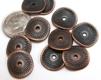 Wavy Copper Metal Beads (10pcs)   15MM Copper Beads