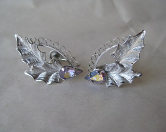 Leaves Aurora Sterling Earrings Screw Rhinestone Silver Borealis AB Vintage 925 Star Art
