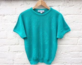 Turquoise 80's knitwear, batwing sweater, summer knit