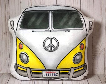 VW Plush Pillow, 1963 VW Camper Van, Volkswagen Bus Shaped Pillow, Car Lover, Baby Nursery, Classic Car, VW Gift for Husband, Gift for Dad