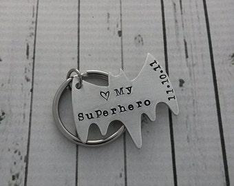 Personalized Superhero Keychain - Personalized Hand Stamped BAT shaped Keychain - love my Superhero - Anniversary Keychain Father's Day Gift