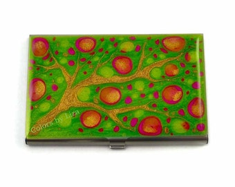 Green business card etsy business card case in hand painted enamel fuschia lime green and gold blossom metal wallet personalized reheart Choice Image