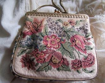 Vintage Purse Steiner of Israel Floral Tapestry Evening Bag Wedding Bridal Garden Party Purses Gatsby Dress Accessories MoonlightMartini