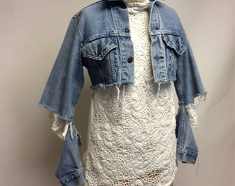 Handmade White Cotton Turtleneck Crocheted Vintage Lace Tee shirt L