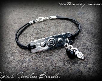 Spiral Goddess Bracelet, Leather Pagan Charm, Gemstone, Pagan, Wiccan, New Age, Wiccan, Boho