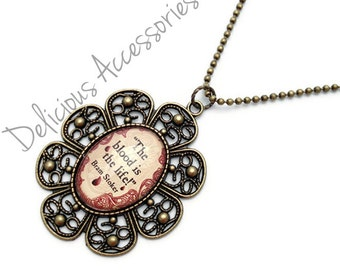 Bram Stoker DRACULA Blood Quote Antique Brass Necklace