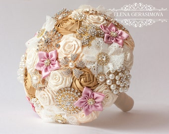Brooch Bouquet. Gold Ivory dusty rose Fabric Bouquet, Unique Wedding Bridal Bouquet