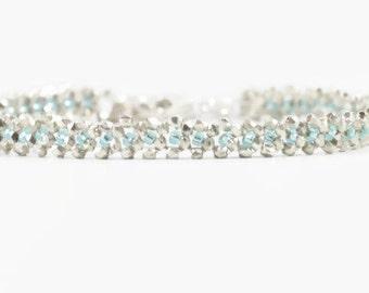 Silver Chain Bracelet - Aquamarine Beaded Bracelet - Wedding Jewelry - Bridesmaid Gift - Beadwork Bracelet - Karen Hill Tribe Silver