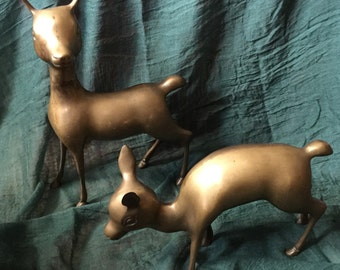 Vintage Set of Two Large Brass Deer Fawn Doe Figurines Mid Century Decor