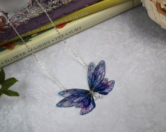 Enchanting Small Forget-Me-Not Blue and Purple Fairy Wing/Butterfly/Cicada Necklace