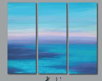 Abstract seascape, Tall vertical canvas print set, Teal navy blue purple, Coastal beach decor, 3 pc wall art, Office wall decor, XL triptych