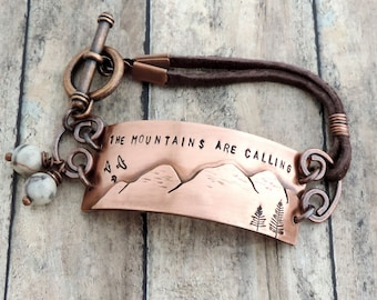 John Muir Mountain Bracelet -  The Mountains are Calling - Mountain Quote - Rustic Nature Jewelry - Gift for Hiker - Outdoor Lover