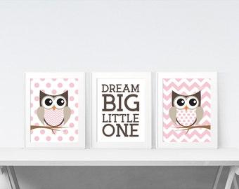 Nursery Decor - Girls Room Decor - Owl Nursery Decor - Woodland Nursery - Nursery Wall Art - Girls Nursery Decor - Woodland Nursery Art