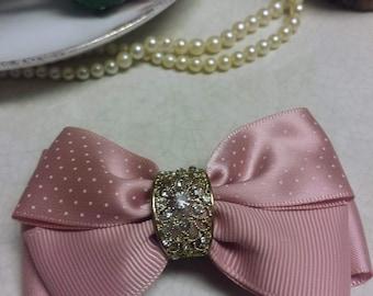 Pink Ribbon Hair Bow- Polka Dots