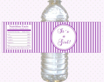 INSTANT DOWNLOAD Purple Its A Girl Baby Shower Party Water Bottle Labels Wrappers - Stripes Lines Party Favors Baby Shower Favors