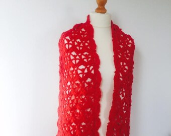Red Wrap, Red Scarf, Red Shawl, Gift For Her, Christmas Stocking Filler, Lacy Wrap, Lacy Scarf, Lacy Shawl, Women's Scarves, Crochet Wrap
