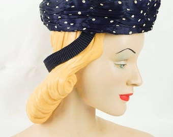 1940s Vintage Tilt Hat Navy Blue with White Polka Dots Sz 22 1/2