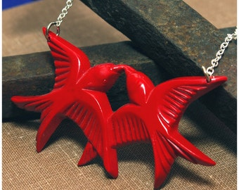 Hand Cast Resin In Flight Swallow Necklace - Red Or Black - Pin Up VLV Rockabilly Punk Tattoo Inspired - Your Color Choice And Length