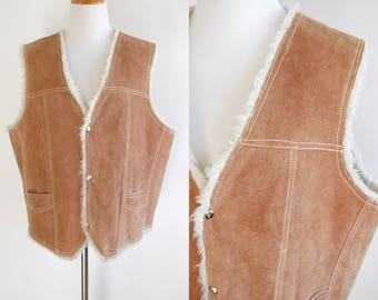 80s Tan Suede Sherpa Vest with Faux Shearling Lining - Snap Up Vest - Beige Suede Leather Vest - Mexican Suede Leather Vest - Large XL