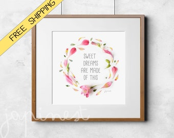 Quote prints Wall Happy quote inspirational quote, motivational poster, baby shower gift, nursery print, sweet dreams, pink decor