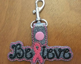 Breast Cancer Awareness- Key Fob Embroidery- Breast Cancer Gift- Cancer Awareness