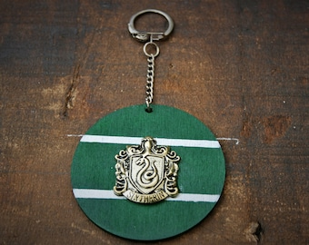 House Slytherin Handmade Wooden Keyring/ Keychain - Inspired by Harry Potter