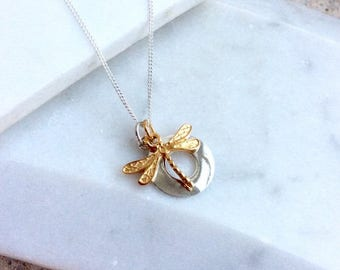 Silver Circle Pendant with Gold Dragonfly Charm Necklace