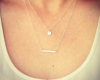 "SALE ---->>> Tiny Customized Sterling Silver Disc Necklace - Hand Stamped Initial 1/4"" disc and Silver Bar Necklace - The Lovely Raindrop"