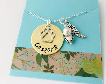 Rememberance Pet Necklace / Pet Memorial Necklace / Pet Remembrance Gift / Pet Loss / In Memory of Gift/ Paw Necklace