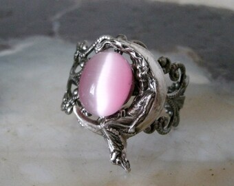 Goddess On Crescent Moon Ring, wiccan jewelry, pagan jewelry, wicca jewelry, goddess jewelry, witch, witchcraft, magic, wiccan ring