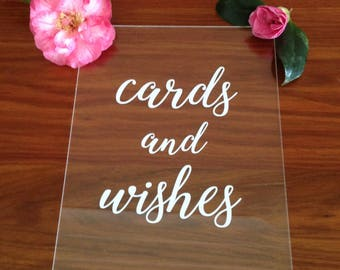 Acrylic/Clear Perspex Wedding 'Cards and Wishes (or Gifts)' sign - custom signs