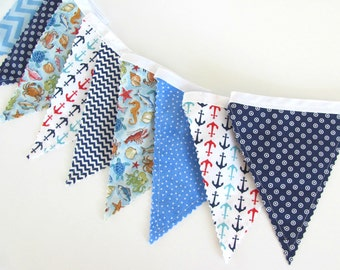 Nautical Nursery Baby Boy Bunting Banner Anchors and Fish in Blue and Navy Baby Shower Birthday Party