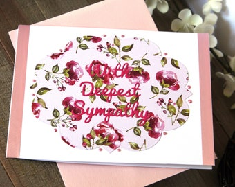 Handmade Sympathy Card, Condolences, Pink White Floral, Ribbon, With Deepest Sympathy, Blank Inside, Free US Shipping