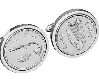 19th Birthday - Anniversary Gift - 1999 Irish Gift - Ireland 10p Salmon Coin Cufflinks - 100% satisfaction