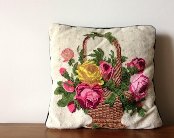 Needlepoint Floral Pillow